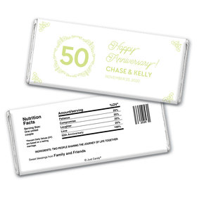 Anniversary Party Favors Personalized Chocolate Bar Wrappers Green Swirls 50th Anniversary