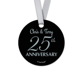 Personalized 25th Anniversary Round Favor Gift Tags (20 Pack)