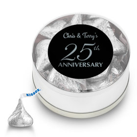 Anniversary Party Favors Personalized Small Silver Plastic Tin 25th Anniversary Favor (25 Pack)