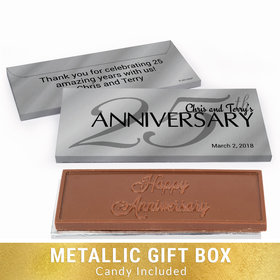 Deluxe Personalized Classic 25th Anniversary Chocolate Bar in Silver Metallic Gift Box