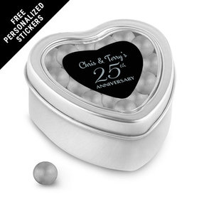 Anniversary Party Favors Personalized Small Heart Tin 25th Anniversary Favor (25 Pack)