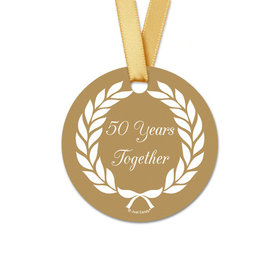 Personalized Gold Laurel Wreath Anniversary Round Favor Gift Tags (20 Pack)
