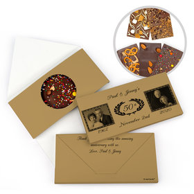 Personalized 50th Anniversary Now & Then Gourmet Infused Belgian Chocolate Bars (3.5oz)