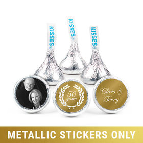 "Personalized 3/4"" Stickers - Metallic Anniversary Now & Then (108 Stickers)"