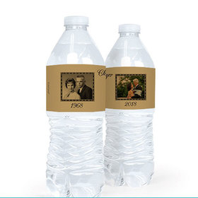 Personalized Anniversary 50th Fleur De Lis Water Bottle Sticker Labels (5 Labels)