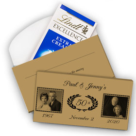 Deluxe Personalized 50th Anniversary Then & Now Lindt Chocolate Bar in Gift Box (3.5oz)