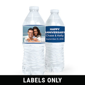 Personalized Anniversary Photo Water Bottle Sticker Labels (5 Labels)
