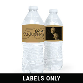 Personalized Anniversary 50th Anniversary Photo Water Bottle Sticker Labels (5 Labels)