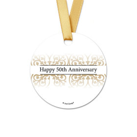 Personalized Gold Fleur de Lis Anniversary Round Favor Gift Tags (20 Pack)