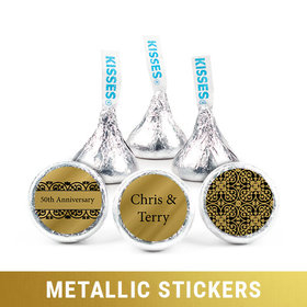 Personalized Hershey's Kisses - Metallic Anniversary Golden 50th (50 Pack)