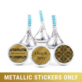 "Personalized 3/4"" Stickers - Metallic Anniversary Golden 50th (108 Stickers)"