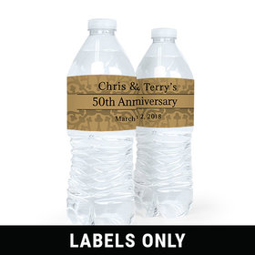 Personalized Anniversary Golden 50th Water Bottle Sticker Labels (5 Labels)