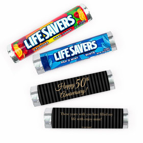 Personalized Anniversary 50th Pinstripe Lifesavers Rolls (20 Rolls)