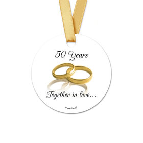 Personalized Gold Rings Anniversary Round Favor Gift Tags (20 Pack)