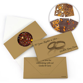 Personalized 50th Anniversary Gold Rings Gourmet Infused Belgian Chocolate Bars (3.5oz)