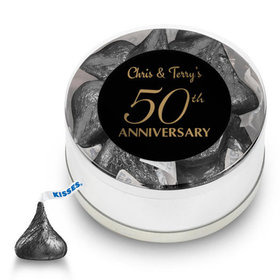 Anniversary Party Favors Personalized Small Silver Plastic Tin 50th Anniversary Favor (25 Pack)