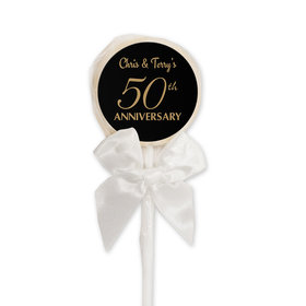 Anniversary Party Favors Personalized White Lollipop 50th Anniversary Favor (24 Pack)