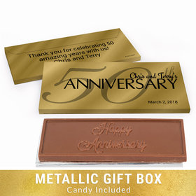 Deluxe Personalized Classic 50th Anniversary Chocolate Bar in Gold Metallic Gift Box