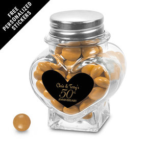 Anniversary Party Favors Personalized Heart Jar 50th Anniversary Favor (12 Pack)