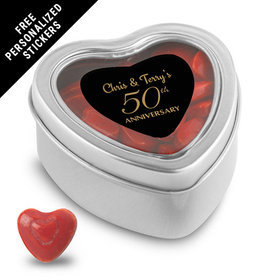 Anniversary Party Favors Personalized Small Heart Tin 50th Anniversary Favor (25 Pack)
