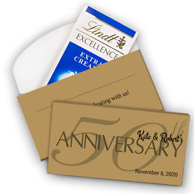 Deluxe Personalized Simple 50th Anniversary Lindt Chocolate Bar in Gift Box (3.5oz)