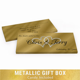 Deluxe Personalized 50th Anniversary Always My One Chocolate Bar in Gold Metallic Gift Box