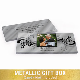 Deluxe Personalized Forever Yours 25th Anniversary Metallic Candy Bar Cover