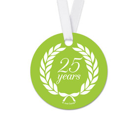 Personalized Anniversary Laurel Wreath Round Favor Gift Tags (20 Pack)