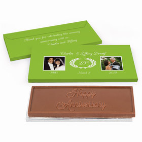 Deluxe Personalized Then & Now Photo Anniversary Chocolate Bar in Gift Box