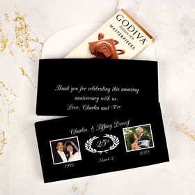 Deluxe Personalized Anniversary Then & Now Photo Godiva Chocolate Bar in Gift Box