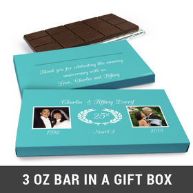 Deluxe Personalized Then & Now Photo Anniversary Belgian Chocolate Bar in Gift Box (3oz Bar)