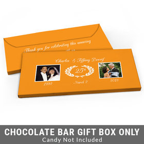 Deluxe Personalized Then & Now Photo Anniversary Candy Bar Favor Box