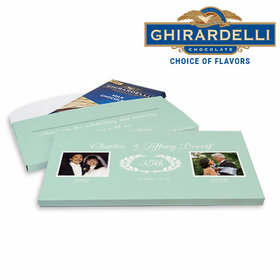 Deluxe Personalized Then & Now Photo Anniversary Ghirardelli Chocolate Bar in Gift Box