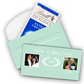 Deluxe Personalized Anniversary Then & Now Photo Lindt Chocolate Bar in Gift Box (3.5oz)