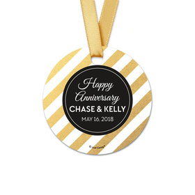 Personalized Shimmering Stripes Anniversary Round Favor Gift Tags (20 Pack)