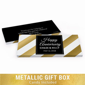 Deluxe Personalized Anniversary Shimmering Stripes Chocolate Bar in Gold Metallic Gift Box