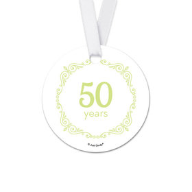 Personalized Script Love Anniversary Round Favor Gift Tags (20 Pack)