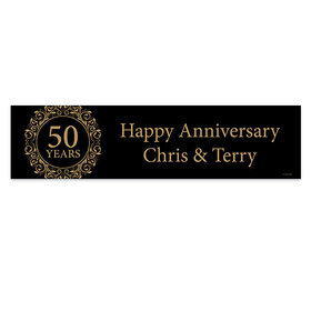 Personalized Anniversary Golden 50th Banner