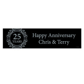 Personalized Anniversary Silver 25th Banner