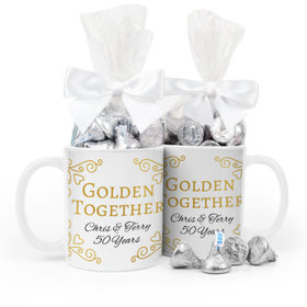 Personalized Anniversary Golden Together 11oz Mug with Hershey's Kisses