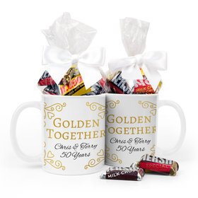 Personalized Anniversary Golden Together 15oz Mug with Hershey's Miniatures