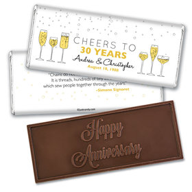 Personalized Wedding Anniversary Embossed Chocolate Bar Cheers To Love