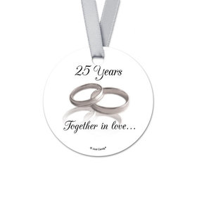 Personalized Gilded Rings Anniversary Round Favor Gift Tags (20 Pack)