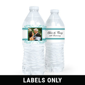 Personalized Anniversary Elegant Frame Water Bottle Sticker Labels (5 Labels)