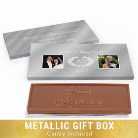 Deluxe Personalized Anniversary Gilded Fluer De Lis Chocolate Bar in Silver Metallic Gift Box