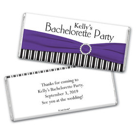 Bachelorette Party Favor Personalized Chocolate Bar Glamour Stripes and Bow