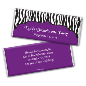 Bachelorette Party Favor Personalized Chocolate Bar Zebra Stripes