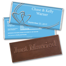 Personalized Wedding Favor Embossed Chocolate Bar Linked Hearts