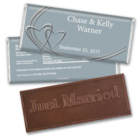 Swept AwayEmbossed Just Married Bar Personalized Embossed Chocolate Bar Assembled