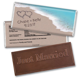Personalized Wedding Favor Embossed Chocolate Bar Names and Hearts in Sand Sea Shore